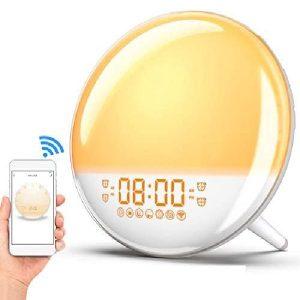 Sunrise Alarm Clock Wake Up Light, Smart WiFi Sunset Simulation Digital LED Clock Supports APP Control with FM Radio,4 Alarms,7 Alarm Sounds, Snooze Function,20 Brightness,7 Colors Bedside Night Light