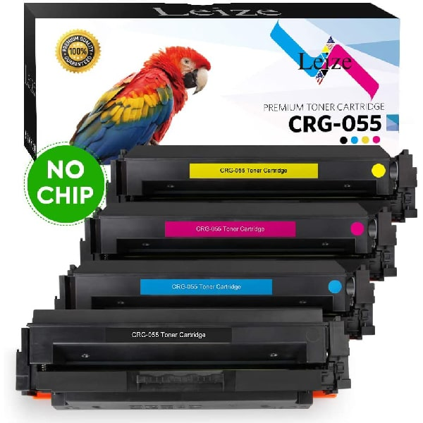 Leize (NO CHIP) Compatible Toner Cartridges Replacement for Canon 055 055H CRG-055 use for Color imageCLASS MF743Cdw MF741Cdw MF745Cdw MF746Cdw LBP664Cdw MF740C LBP660C Laser Printers, 4-Pack KCMY