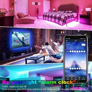 50FT LED Strip Lights, TFZBA Room Lights Strip Music Sync, App Control with Remote, SMD5050 RGB Strip Lights, Flexible Strip Lighting, Built-in Mic Rope Lights for Home Kitchen, tv
