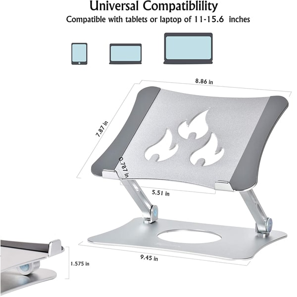 Laptop Stand, Notebook Holder with Heat-Vent to Elevate Laptop, Adjustable Notebook Stand for Laptop, Compatible with MacBook Air/Pro, Dell,and Other 11-15.6'' Notebook