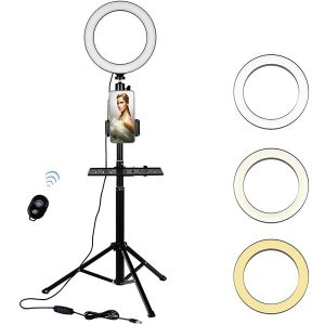 "8"" Led Selfie Ring Light with Cell Phone Holder & Tripod Stand for Phone, Dimmable Selfie Lamp with 3 Modes and 10 Brightness for Makeup/Live Stream/Video/Photography, Compatible with iOS and Android"