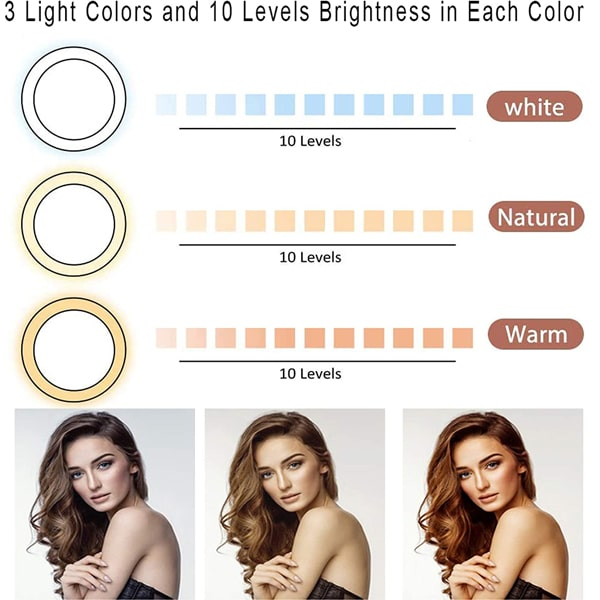 """8"""" Led Selfie Ring Light with Cell Phone Holder & Tripod Stand for Phone, Dimmable Selfie Lamp with 3 Modes and 10 Brightness for Makeup/Live Stream/Video/Photography, Compatible with iOS and Android"""