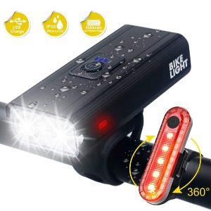 gebalage Bike Lights, Ultra Bright USB Rechargeable Bike Light Set, IPX6 Waterproof Cycling Front Headlight and Back Taillight, 6 Light Modes