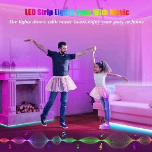 50Ft LED Strip Lights, Leeleberd Music Sync Color Changing Bluetooth LED Light Strips, App Control+Remote+4 Button Controller, RGB Strip Lights for Bedroom Living Room Party Home Decoration(2 X 25ft)