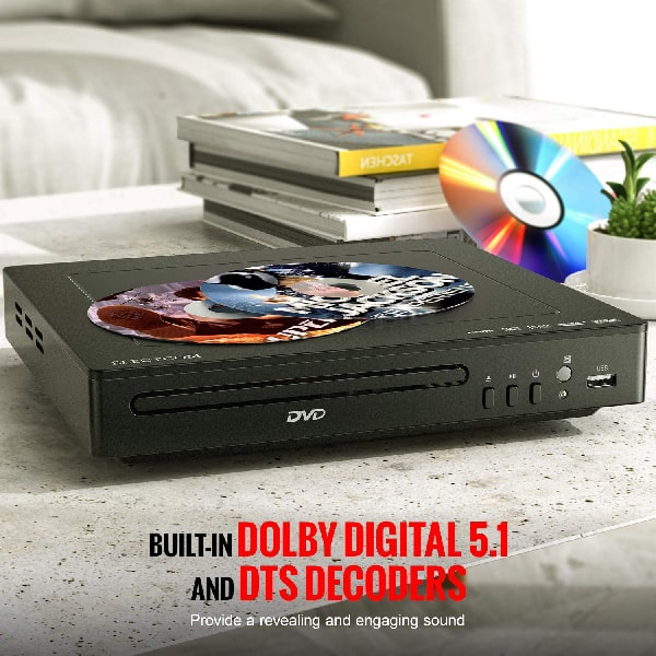 DVD Player, ELECTCOM DVD Player for TV, HD 1080p Upscaling, RCA & HDMI Port(HDMI & AV Cable Included), All Region Free, USB Input, Built-in PAL/NTSC System, Remote Control Included