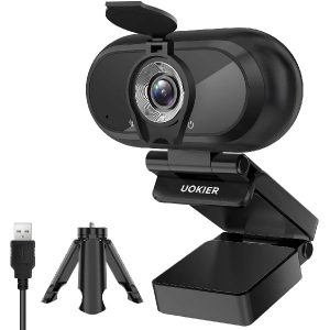Webcam with Microphone, UOKIER 1080P HD Webcam, USB 3.0, Plug and Play, 30fps, Streaming Camera with Tripod, Desktop or Laptop Computer Streaming Camera for Video Conferencing, Teaching, Streaming