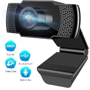 Pocut HD 1080P Webcam with Microphone, USB Webcam, 110-Degree Widescreen Streaming Webcam, Multi-Compatible for Windows/Mac, for Video Recording, Calling and Conferencing