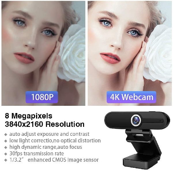 4K Webcam with Microphone,8 Megapixel Web Camera,Ultra HD Digital Webcam,Pro Streaming Webcam,Widescreen PC Webcam,USB Computer Camera for Video Calling