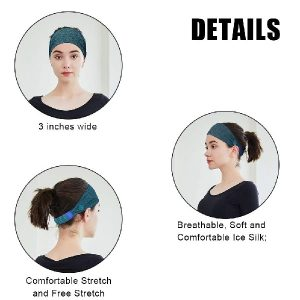 Headbands with Buttons for Women Fashion Hair Bands, Button Stretchy Button Headband Holder Head Wrap Hair Band,2pcs Dark Gray, Pink (Black&Navy Blue)