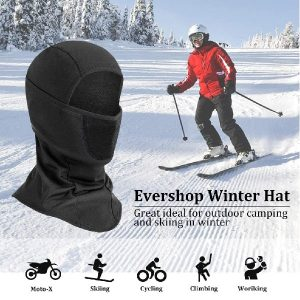 Evershop Cold Weather Balaclava Ski Mask with 2 Replaceable Filters - Winter Neck Gaiter Warmer Windproof Dustproof Full Face Cover for Snowboarding, Skiing, Motorcycling Outdoor Sports