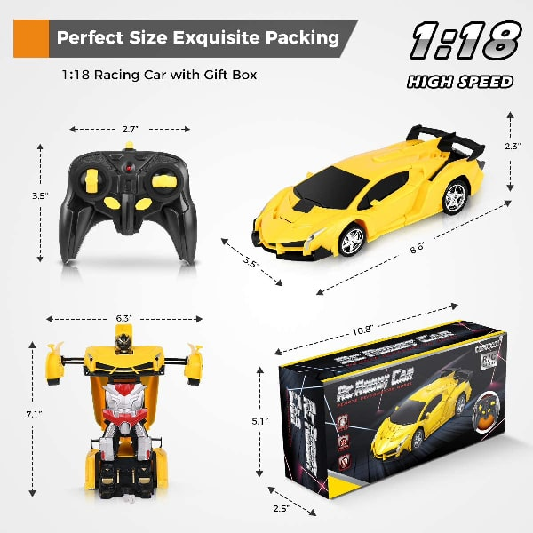 esuccus Remote Control Car, Transform Robot RC Car for Kids, 2.4Ghz 1:18 Scale Model Racing Car with One-Button Deformation, 360°Drifting, Transforming Robot Car Toy Gift for Boys and Girls
