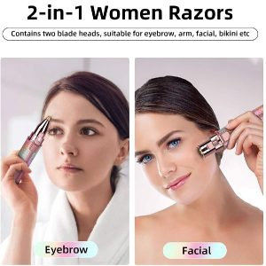Eyebrow Trimmer & Facial Hair Removal, Eyebrow Razor Facial Hair Trimmer for Women 2 in 1 Design with Built-in LED Light Womens Razors for Brows Peach Fuzz Chin Nose Upper Lip
