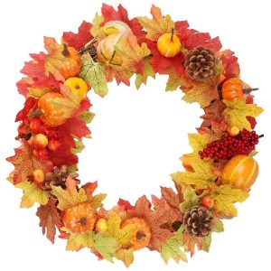 winemana 15 inch Thanksgiving DIY Wreath-Pumpkin Collections as Decor DIY Wreath Decoration Door Gate,Artificial Fall Wreath for Door, Wreaths with Pumpkins, Pinecone, Maple Leaf and Berry