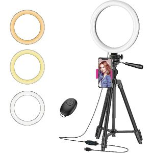 """ Ring Light with 50"" Tripod Stand and Phone Holder for Live Stream/Makeup, Desktop LED Camera Beauty Ringlight for YouTube Video Recording Compatible with iPhone 11 Xs Max XR Android(2020 Version)"