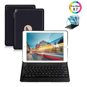 iPad Keyboard Case 9.7 for iPad 2018 (6th Gen) iPad 2017 (5th Gen) iPad Pro 9.7 iPad Air 2 & 1 Wireless Keyboard Auto Sleep/Wake iPad Case with Keyboard (Black)