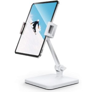 iPad iPhone Stand Holder, Tablet Stand Adjustable - 360° Swivel Folding Arm Clamp Mount iPad Stands and Holders for Desk, Fits iPhone iPad Air Mini Pro, Kindle, Fire, Surface, Samsung (4.7''-12.9'')