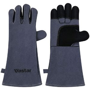 Welding Gloves, Vastar 16 Inches Leather Forge Fireproof Gloves 662℉(350℃) Fire Resistant, for Fireplace/Stove/Oven/Grill/BBQ/Welding/Animal Handling, Grey Black