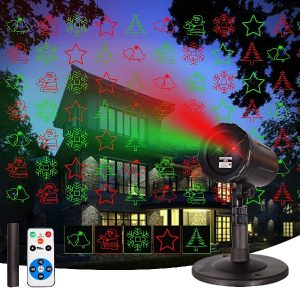Laser Christmas Projector Outdoor Lights Garden Christmas Lights with Wireless Remote Star Shower Controller for Indoor Outdoor Garden and Landscape Wall Decorations