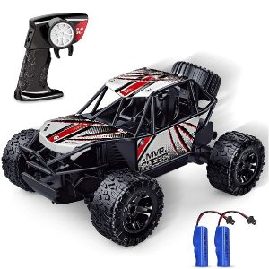 Remote Control Car, Remote Control Truck Toy for Boys, Off Road RC Car Vehicle 2.4 GHZ High Speed Monster Racing Car with 2 Rechargeable Batteries for 4-7 Year Old Kids Adults (Black)