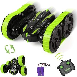 Remote Control Car for Boys,2 in 1 Stunt RC Cars Toy for Kids 2.4Ghz 4WD Track and Wheels Interchange Crawlers 360° Rotating Flips High Speed Racing Cars for Age 4-12 Years Old Xmas Gift for Girls