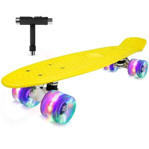 OUTON Skateboards for Kids 22 inch Complete Mini Cruiser Retro Skateboards for Girls, Boys, Teens, Adults & Beginners