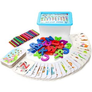 KIDWILL Alphabets Numbers Flash Cards - ABC Wooden Letters Numbers Counting Sticks Jigsaw Puzzle Pegboard Game Preschool Montessori Educational Toys - Gift for Toddlers Kids Boys and Girls Age 3+