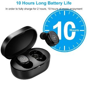 Ankbit Wireless Earbuds with Mic, Bluetooth 5.0 Wireless Earbuds, Water Resist Bluetooth in Ear Headphones USB-C Charging Case/Mics,Black
