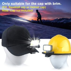 2 Pack Headlamp, Clip on Hat Light USB Rechargeable Led Helmet Light Hands-Free Cap Headlamp Gifts for Men for Outdoor Walking, Running, Reading, Fishing with Red Safety Light (CAP NOT INCLUDED!)