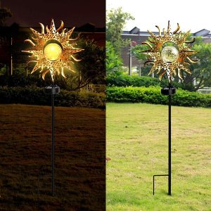DOOGAXOO Sun Solar Lights Garden Outdoor,Waterproof Metal Decorative Stakes for Walkway,Yard,Lawn,Patio