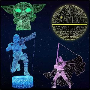 AOEVI Star Wars Gifts 3D Night Light for Kids Room Decor, Star Wars Toys with 7 Colors Changing Starwars Lamp with Remote and Timer, Gifts for Brorther Men Boys Father Fans Adults (4 Patterns)