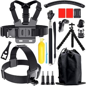 Accessories Kit for Gopro Hero 8 7 6 5 4, Action Camera Accessories Compatible with Xiaomi Yi DJI AKASO APEMAN Campark SJCAM Action Camera etc