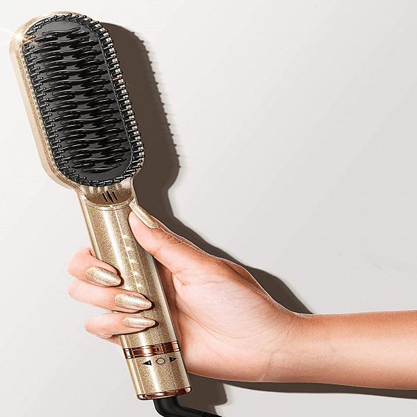Hair Straightener Brush, FURIDEN Straightening Brush Hot Comb, Hot Brush Hair Straightener, Hair Straightener Comb Brush, Anti Frizz Ionic Brush, Heated Hair Brush Straightener