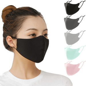 5 PCS Protective Face Covers Unisex Adult with Adjustable Elastic Ear Loop Cover Full Face Anti-Dust, Washable and Reusable