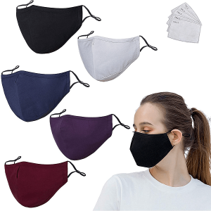 5 Pack Protective Covers with 10 Carbon Filter,Washable Reusable Cotton Blend Protection Cover
