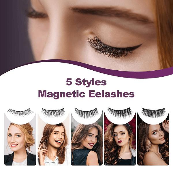 5 Pairs Reusable Magnetic Eyelashes and 2 Tubes of Magnetic Eyeliner Kit, 3D Magnetic Eyelashes Kit With Tweezers Inside, Magnetic Eyeliner and Magnetic Eyelash Kit - Natural look