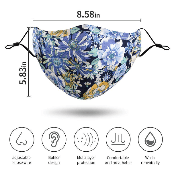 DAIVENSL Stylish Cotton Face Mask with Filter Pocket, Washable Reusable 3Layers,Handmade Flowers and Daisies Design facemasks for women, with adjustable ear loop,snose wire,Pack of 5