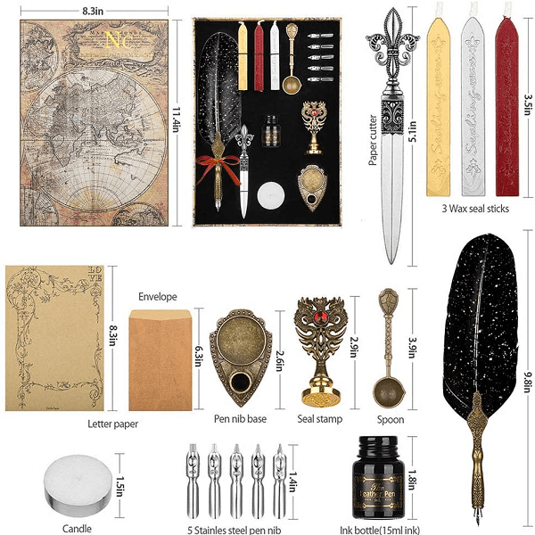 NC Wax Seal Stamp Kit ,Quill Pen ink Set Includes Feather Dip Pen,Ink,5 Replacement Nibs,3 Wax Seal Sticks,Pen Nib Base,Seal Stamp, White Wax,Spoon,Envelope letter paper, Envelope Tool, Vintage Romantic Valentine Gift ( BLACK)